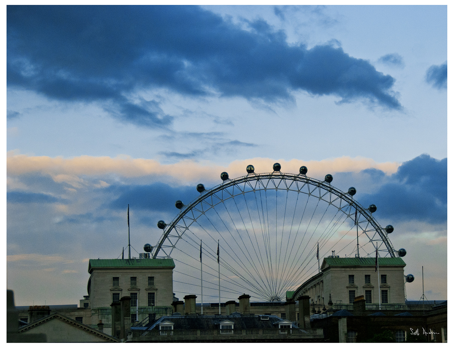 London Eye Peeking Over the Thames