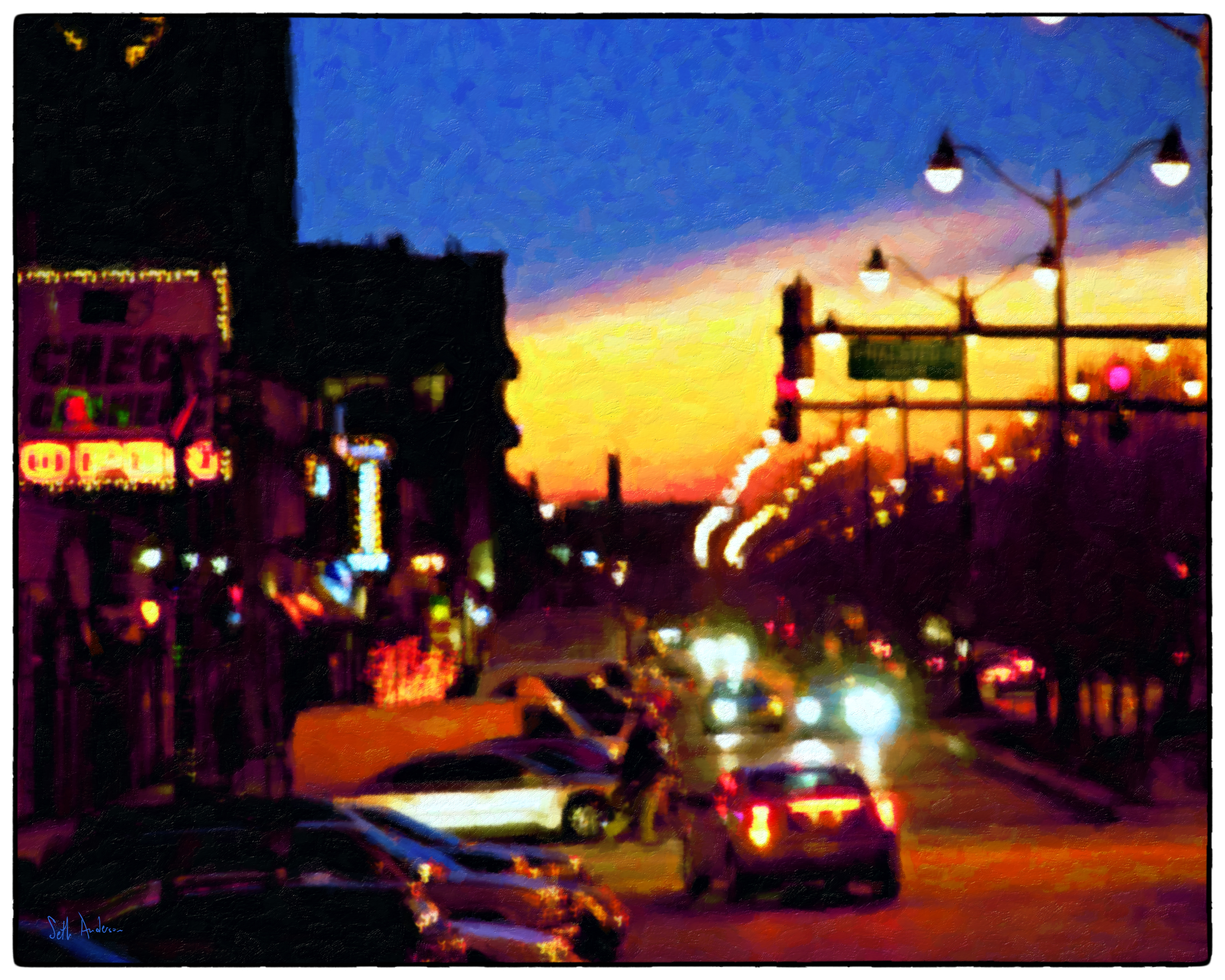 Halsted At Night - Oil